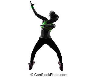 kvinna, silhuett, zumba, dansande, exercerande, hoppning, fitness