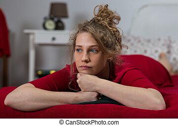 kvinna, singel, säng