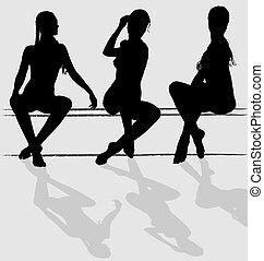 kvinna sitta, tre, ung, silhouettes, vektor, attraktiv