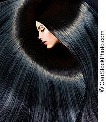 kvinna, skönhet, hälsosam, länge, brunett, svart, hair.