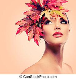kvinna, skönhet, höst, mode, portrait., flicka