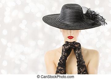 kvinna, skönhet, mode, stående, modell, hatt, handskar