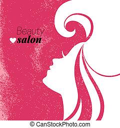 kvinna, skönhet sällskapsrum, poster., silhouette., vacker