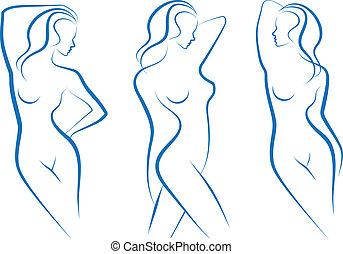 kvinna, skiss, vektor