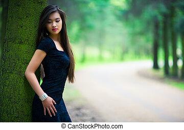kvinna, skog, ung