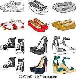 kvinna, skor, kollektion