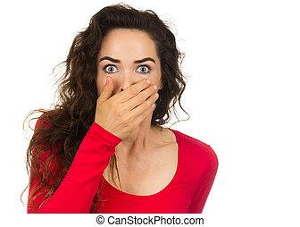 kvinna, skrämd, chockerat
