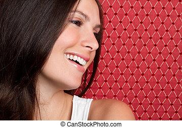 kvinna, skratta
