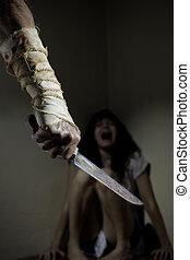 kvinna, skrik, livrädd