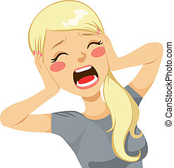kvinna, skrika, chockerat
