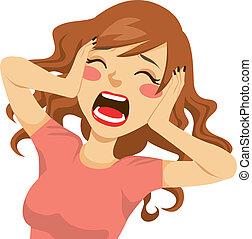 kvinna, skrika, desperat