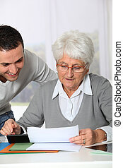 kvinna, skrivbordsarbete, ung, äldre, portion, man