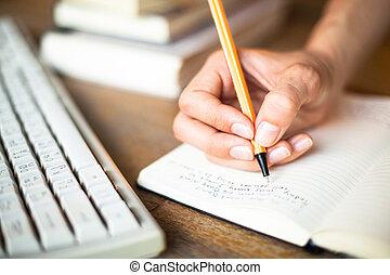 kvinna, skriver, tangentbord, bakgrund., fålla dator, anteckningsbok, räcker