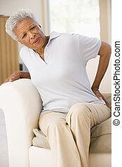 kvinna, smärta, baksida