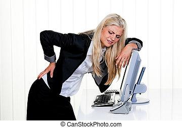 kvinna, smärta, baksida, kontor