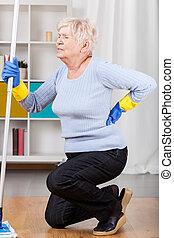 kvinna, smärta, ha, äldre, baksida