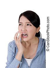 kvinna, smärta, tand