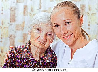 kvinna, smileing, ung, äldre, läkare