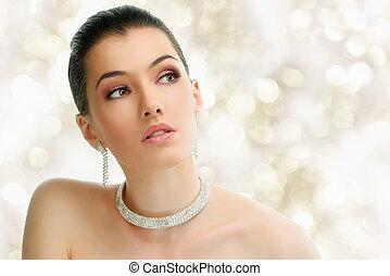 kvinna, smycken