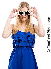 kvinna, solglasögon, mode
