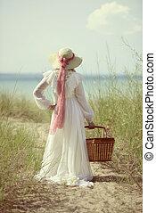 kvinna, sommartid, strand