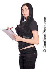 kvinna, spiral anteckningsbok