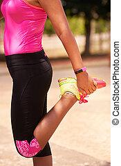 kvinna, sports, sträckande, användande, fitwatch, steg, disk
