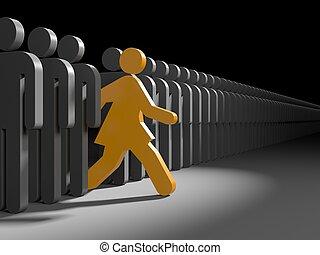kvinna, springa, till, färsk, tillfällen