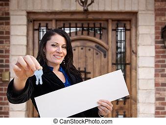 kvinna, stämm, hispanic, hus, underteckna, holdingen, tom, främre del