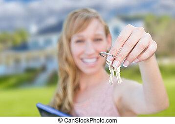 kvinna, stämm, hus, holdingen, främre del, färsk, home., spänd, trevlig