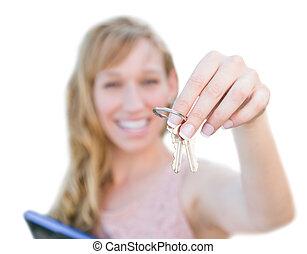 kvinna, stämm, hus, isolerat, bakgrund., holdingen, vit, spänd