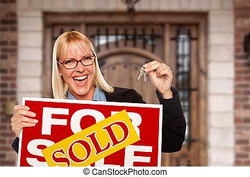 kvinna, stämm, nytt hus, underteckna, såld, hem, holdingen, spänd, egendom, verklig, främre del, trevlig