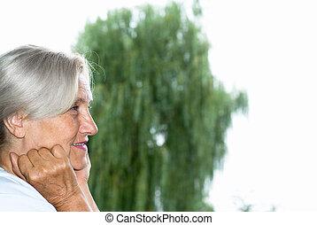 kvinna stå, i parken