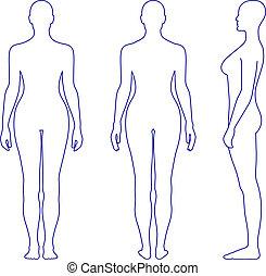 kvinna stå, silhuett, naken