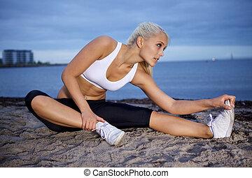 kvinna, sträckande,  fitness