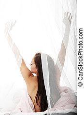 kvinna sträckande, säng, ung, naken, morgon, vacker