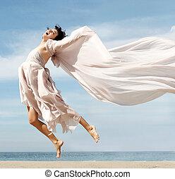 kvinna, strand