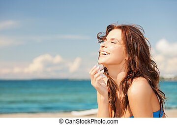 kvinna, strand, skratta