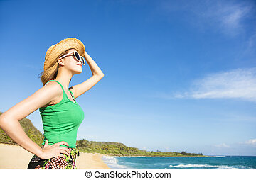kvinna, strand, ung, avkopplande, attraktiv