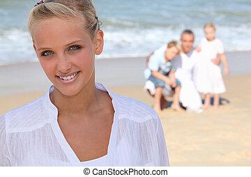 kvinna, strand, ung