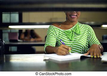 kvinna, studera, ung, bibliotek, högskola, kvinnligt studerande, svart