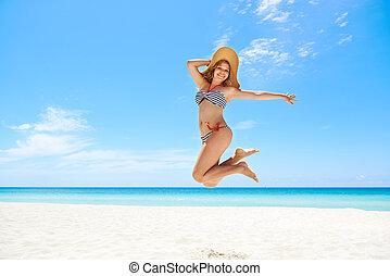 kvinna, sugrör, strand, mid-air, hoppning, hatt