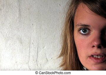 kvinna, surprised-looking