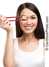 kvinna, sushi, matpinnar, holdingen, le, rulle