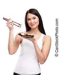 kvinna, sushi, matpinnar, holdingen, rulle, attraktiv