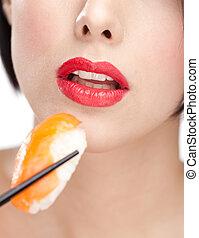 kvinna, sushi, närbild, attraktiv, holdingen, matpinnar