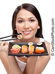 kvinna, sushi, ung, matpinnar, holdingen, attraktiv