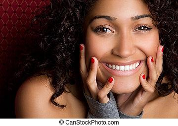 kvinna, svart, skratta