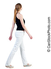 kvinna, synhåll, vandrande, baksida