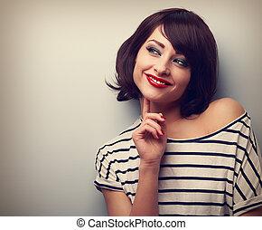 kvinna tänkande, nymodig, ung, space., se, närbild, avskrift, lycklig